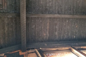Picture of a burned interior ceiling